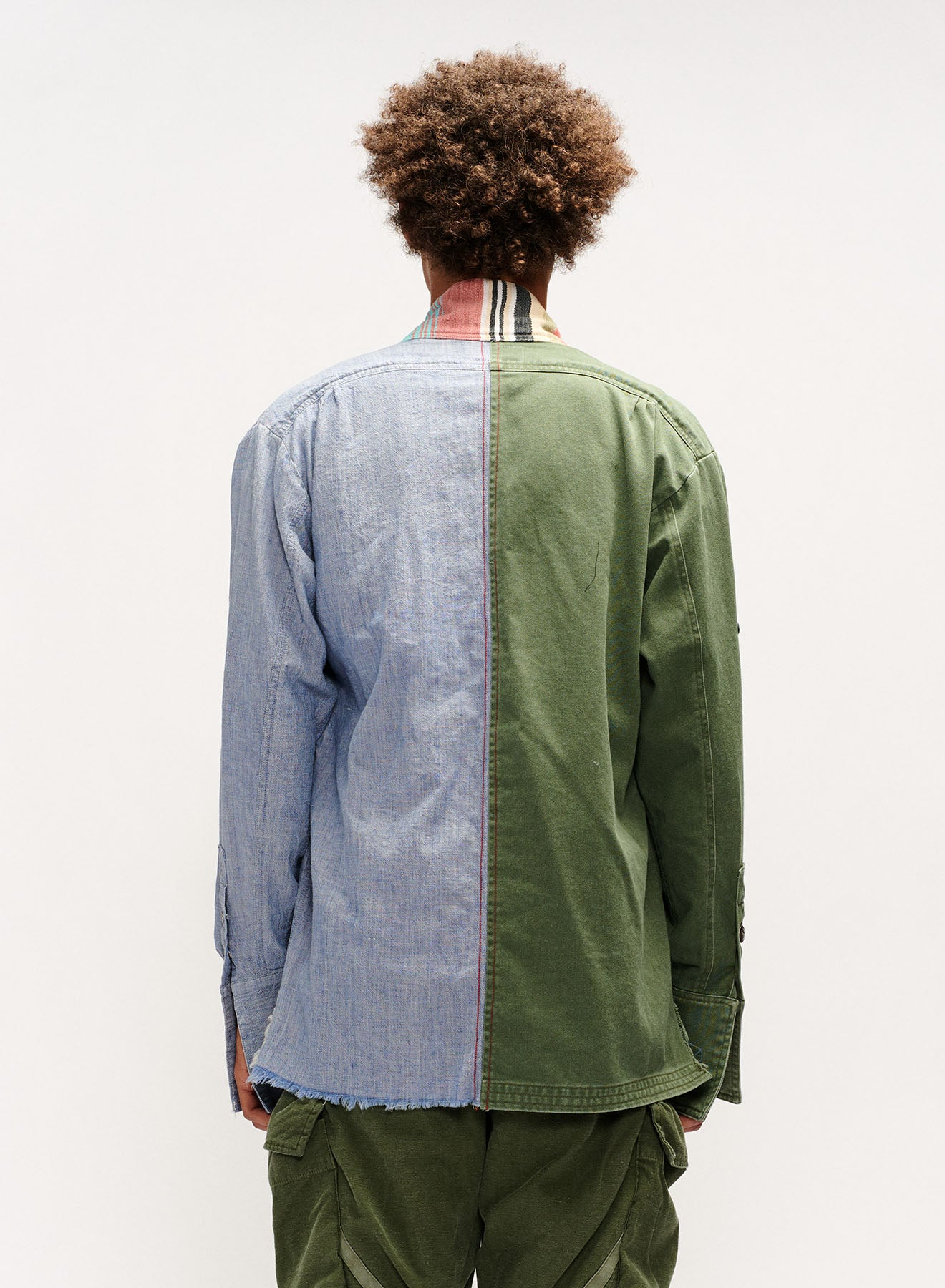 ARMY / CHAMBRAY DHURRIE STRIPE GL1