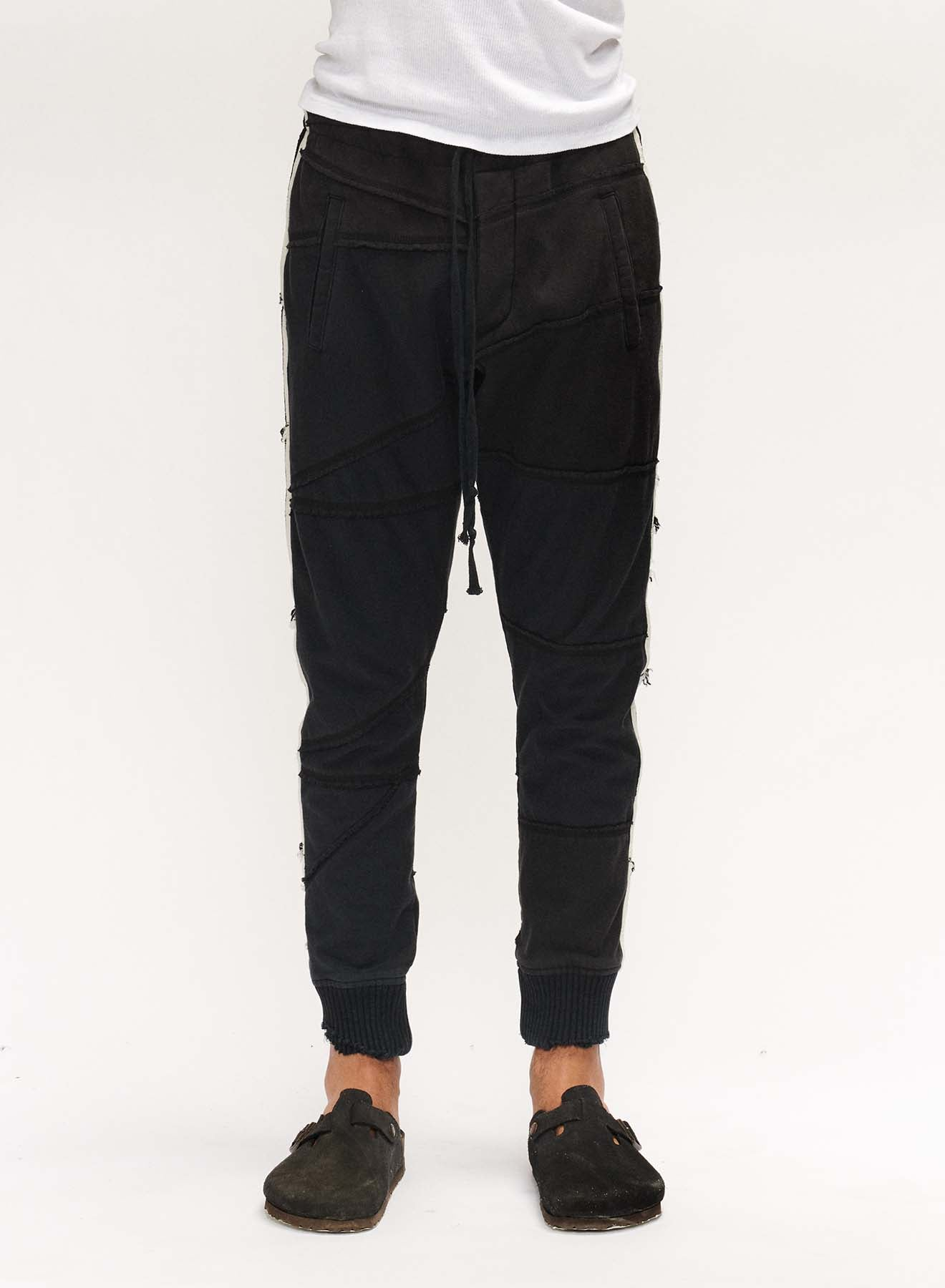 FLEECE SCRAPWORK TRACK PANT BLACK