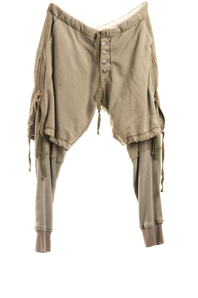 ARMY FLEECE ZIP SHORT LOUNGE PANT