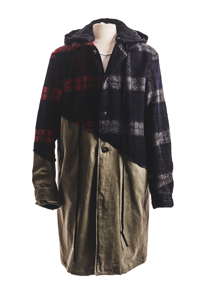 50/50 MIXED WOOL PLAID/ARMY TRENCH COAT