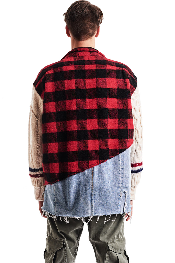 50/50 BUFFALO CHECK/DENIM STUDIO JACKET