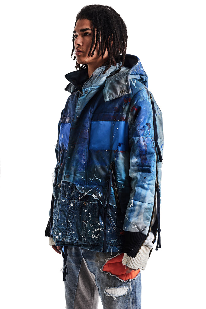 BLUE GL PAINTED RETRO PUFFY JACKET