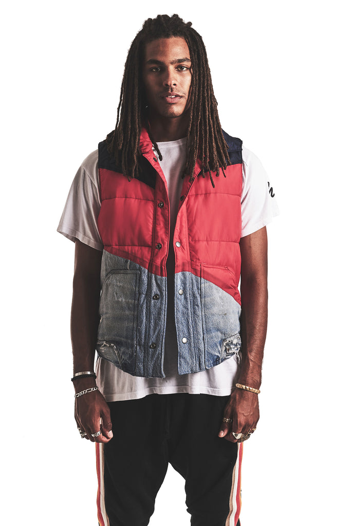 50/50 RED/DENIM PUFFY VEST
