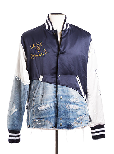 50/50 Navy Satin / Denim Varsity Jacket
