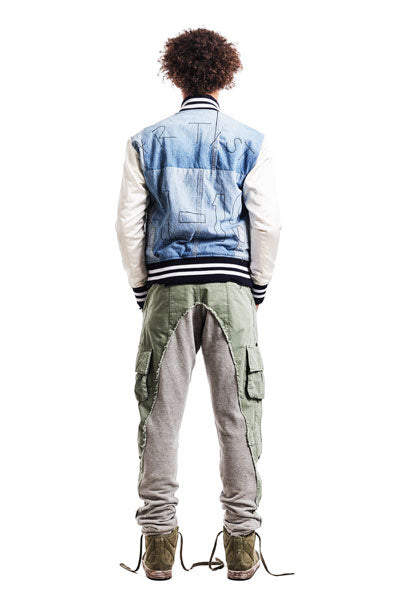 DENIM / IVORY SATIN VARSITY JACKET