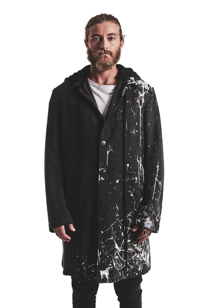 CHARCOAL TWEED PAINTED HOODED ARTIST COAT