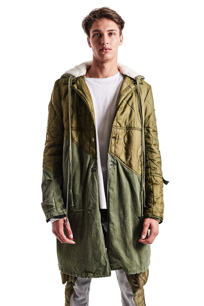 50/50 ARMY LINER/VINTAGE TRENCH COAT