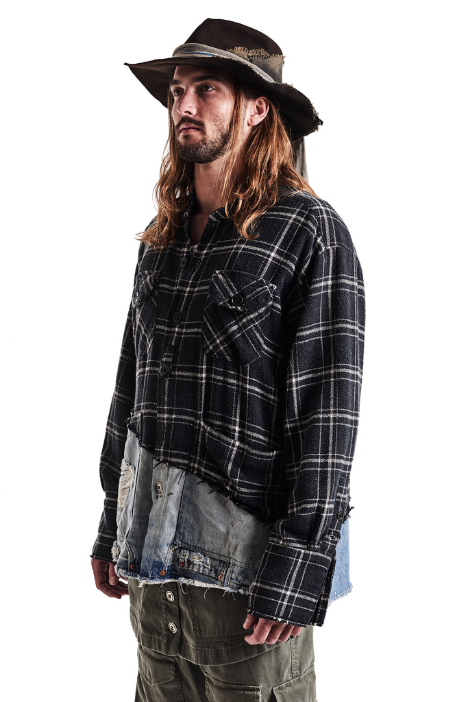 50/50 BLACK PLAID/DENIM BOXY STUDIO SHIRT