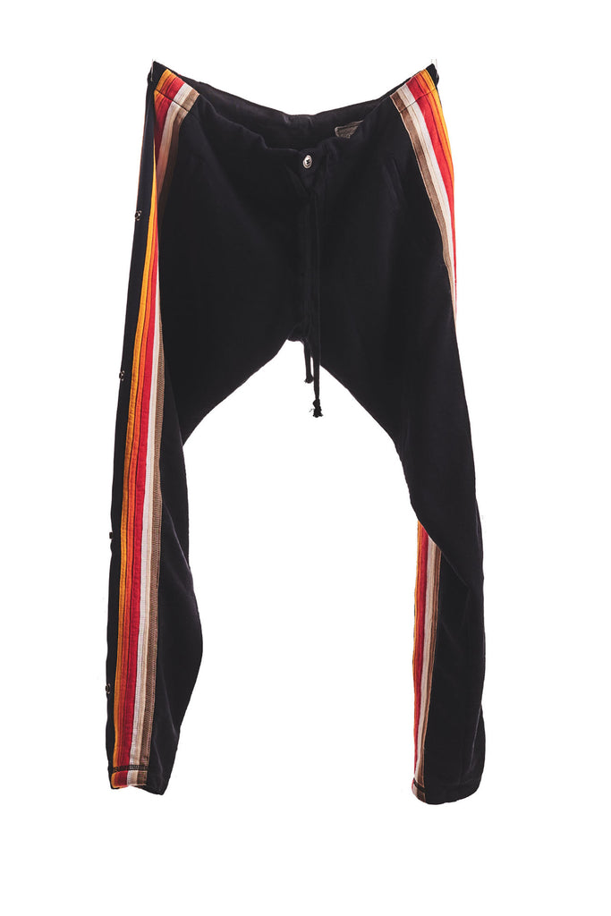 BLACK LONG PANT WITH MIXED STRIPES