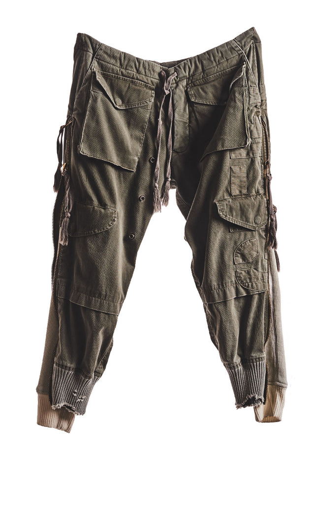 ARMY / WAFFLE ZIP PANT