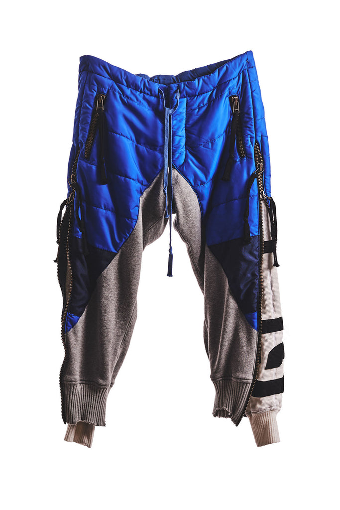 BLUE PUFFY ZIP PANT