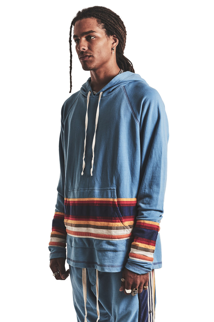 LIGHT BLUE HOODIE WITH MIXED STRIPES
