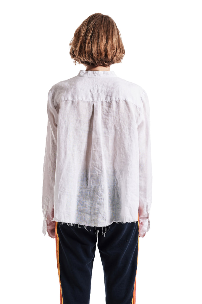 WHITE LINEN CHRISTIAN STUDIO SHIRT