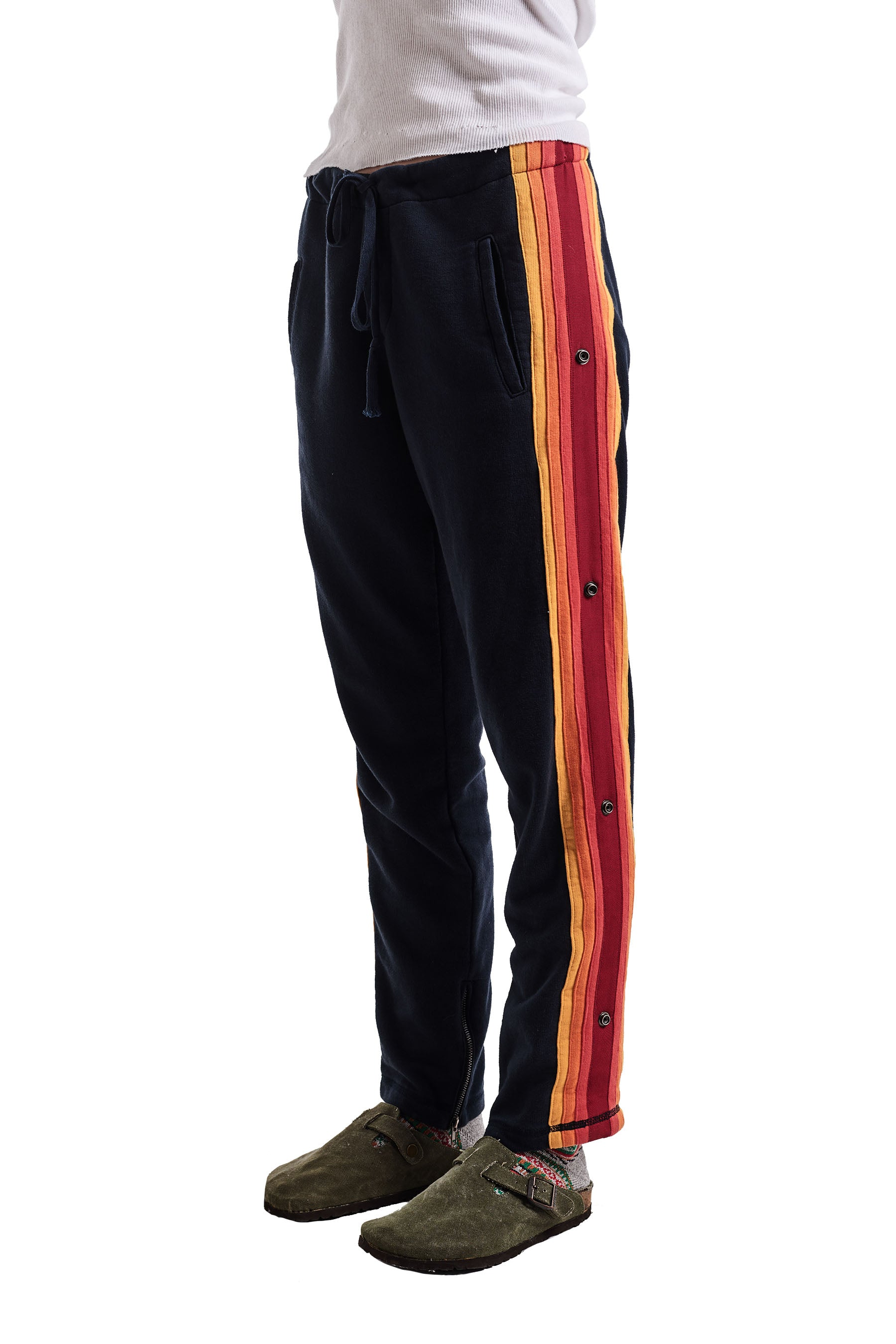 BLACK LOUNGE PANT WITH MIXED STRIPE