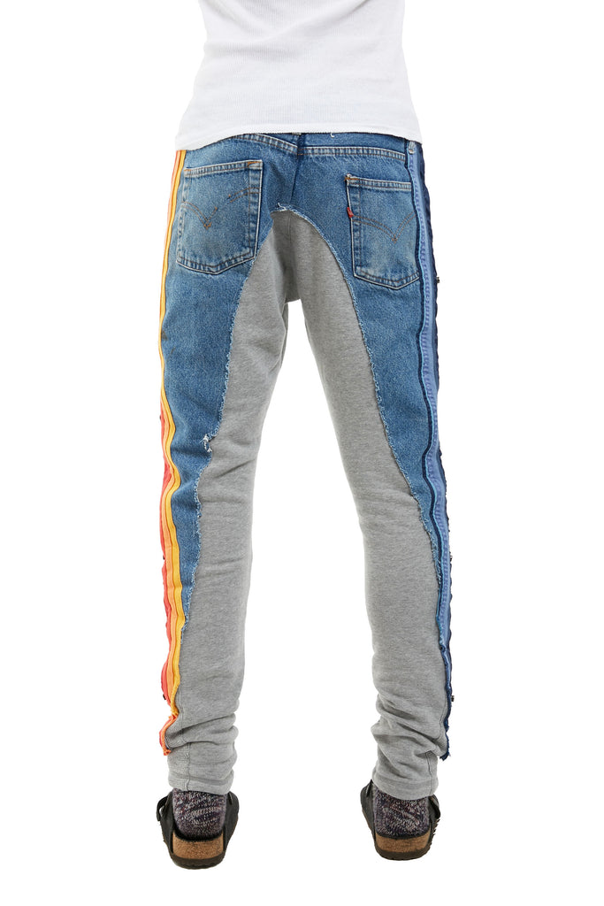 50/50 DENIM/TERRY LONG PANT WITH MIXED STRIPES