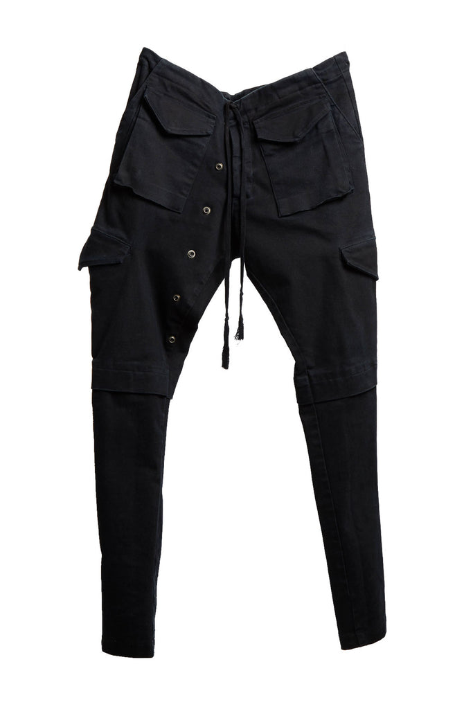 BLACK STRETCH DENIM LONG CARGO PANT