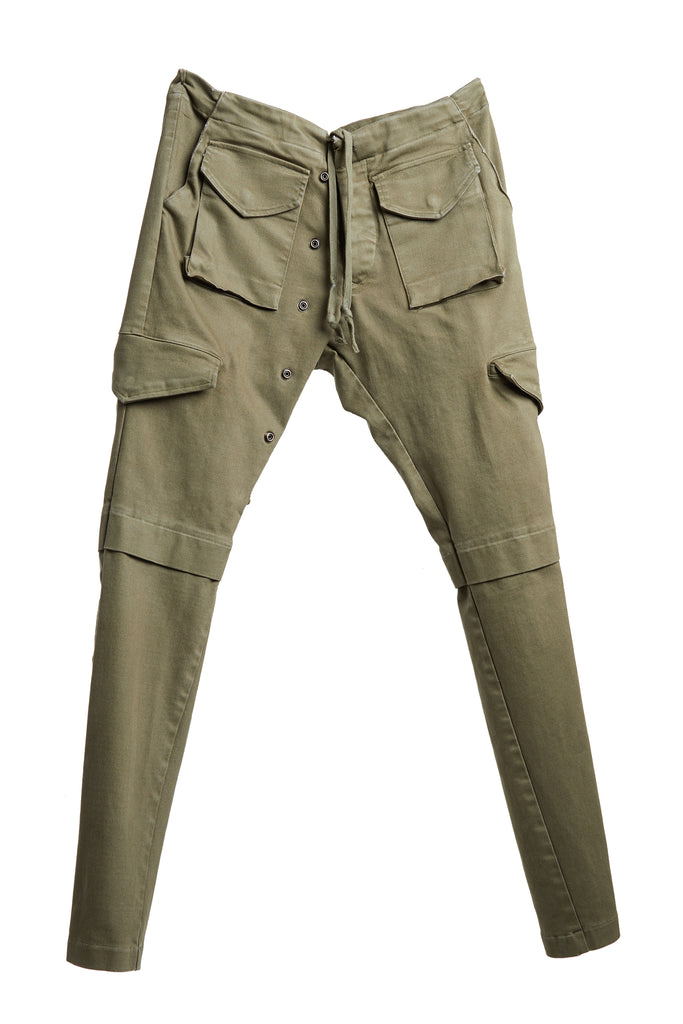 ARMY STRETCH DENIM LONG CARGO PANT