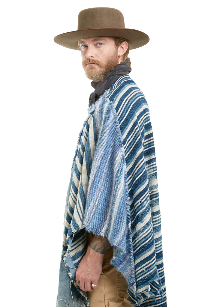 KNIT/DENIM PONCHO