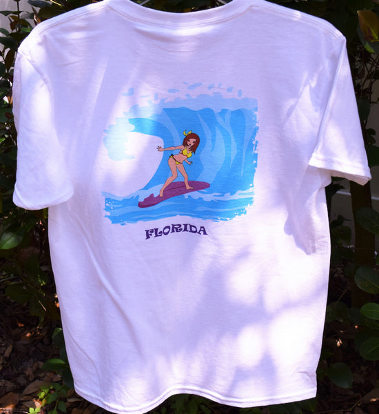 Enjoy Life Girls T-shirt Bird and Butterfly with Anime Surfer Girl