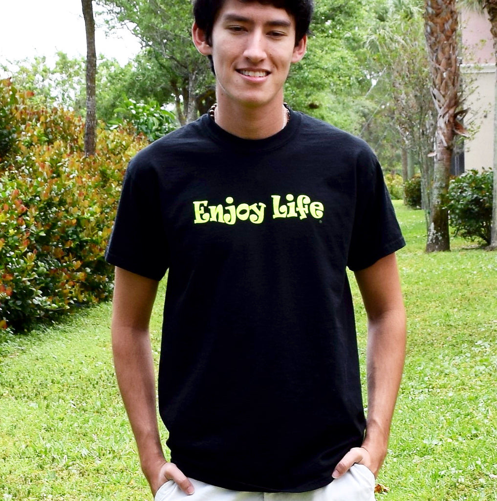 c299960a544235 A Bright Picture / Enjoy Life. Enjoy Life T-shirt Men or Women Black Tee  with Bright Yellow font