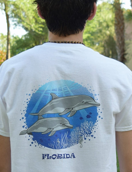 Enjoy Life T-shirt Men or Women Dolphin Scene and Sea Horse