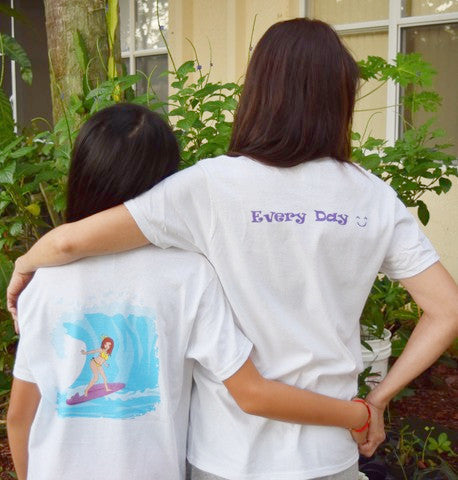 T shirt Women Purple Bird and Butterfly Enjoy Life logo with Every Day smiley