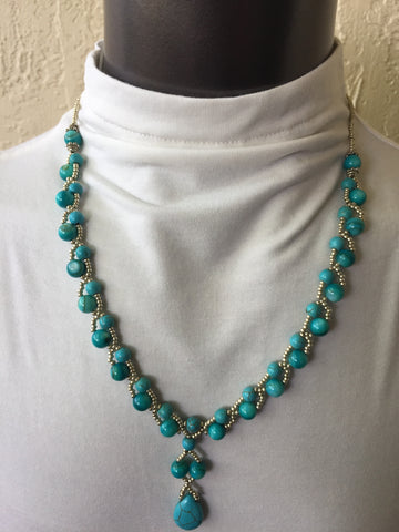Turquoise Blue Shell Teardrop Necklace