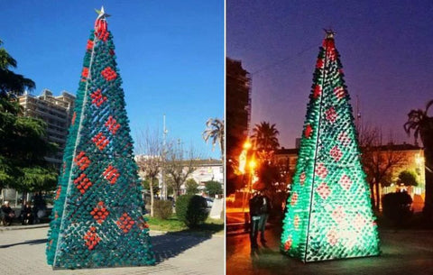 created with the aid of a collection of citizens in elbasan albania the center city public tree is crafted by using 2200 recycled plastic bottles that