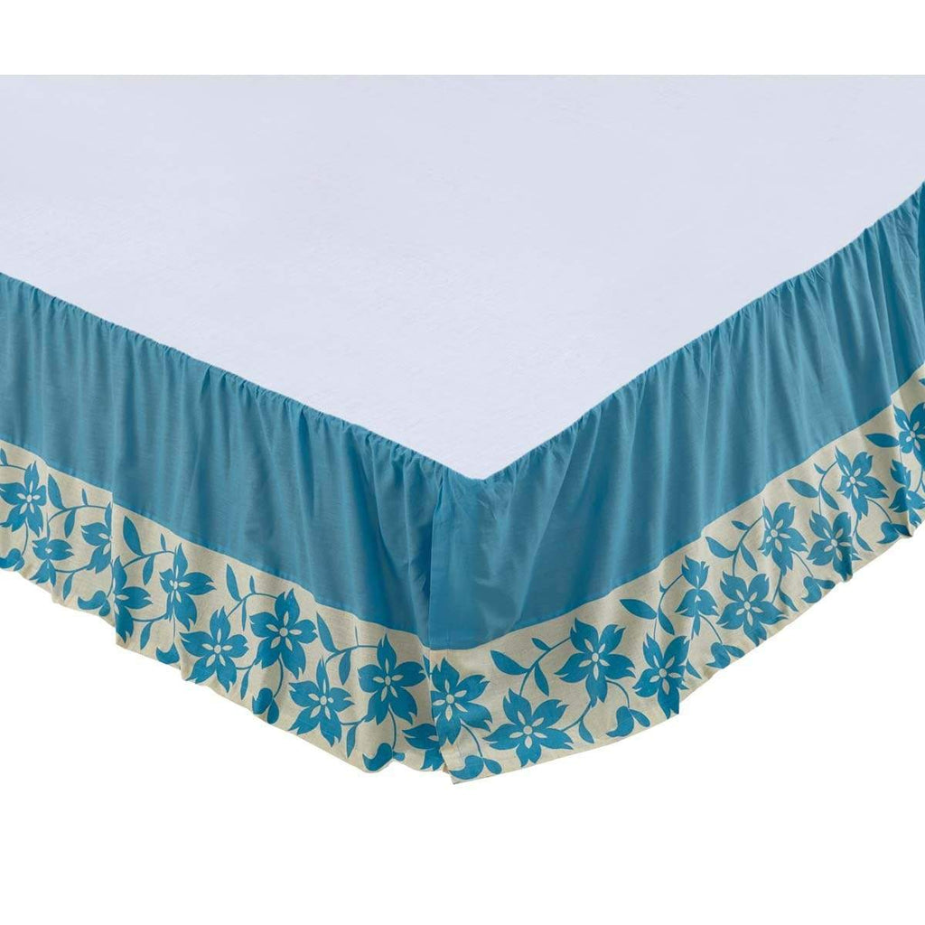 3 Coast Way Bed Skirt Briar Azure King Bed Skirt 78x80x16