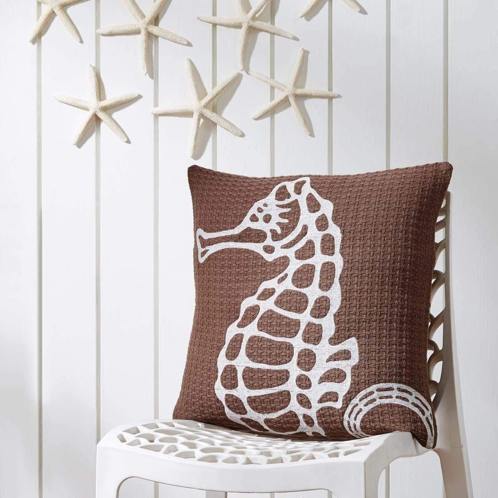 3 Coast Way Pillow Cover Embroidered Seahorse Pillow 18x18