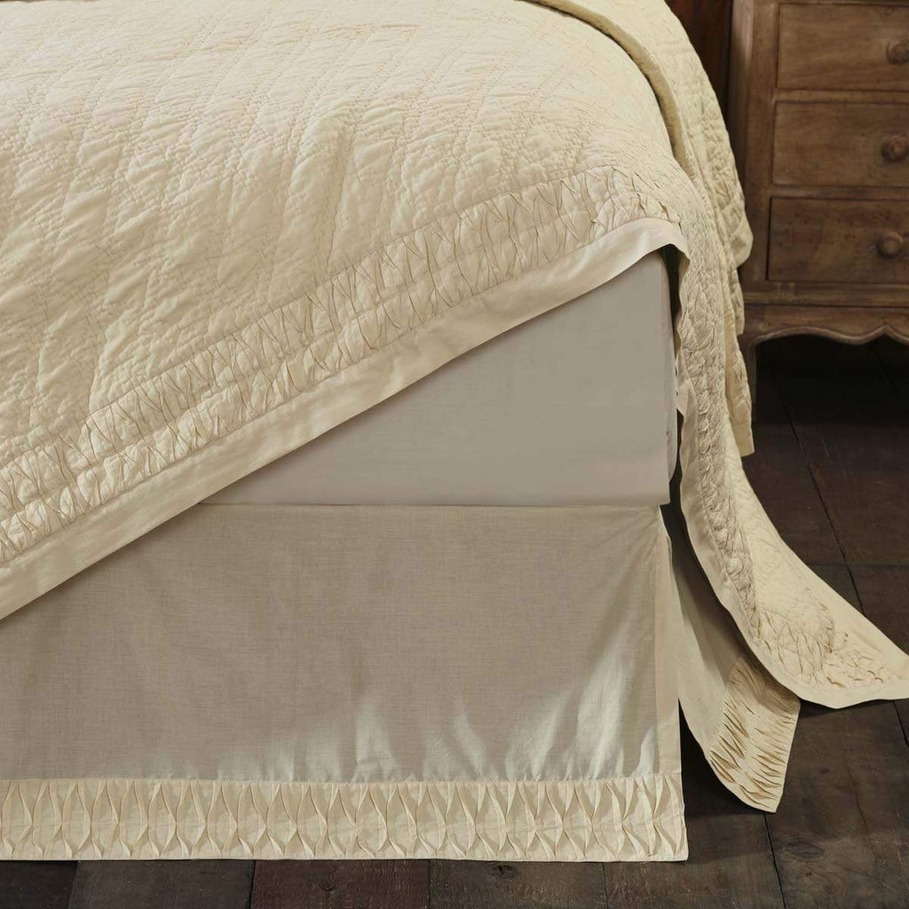 April & Olive Bed Skirt Adelia Creme Queen Bed Skirt 60x80x16