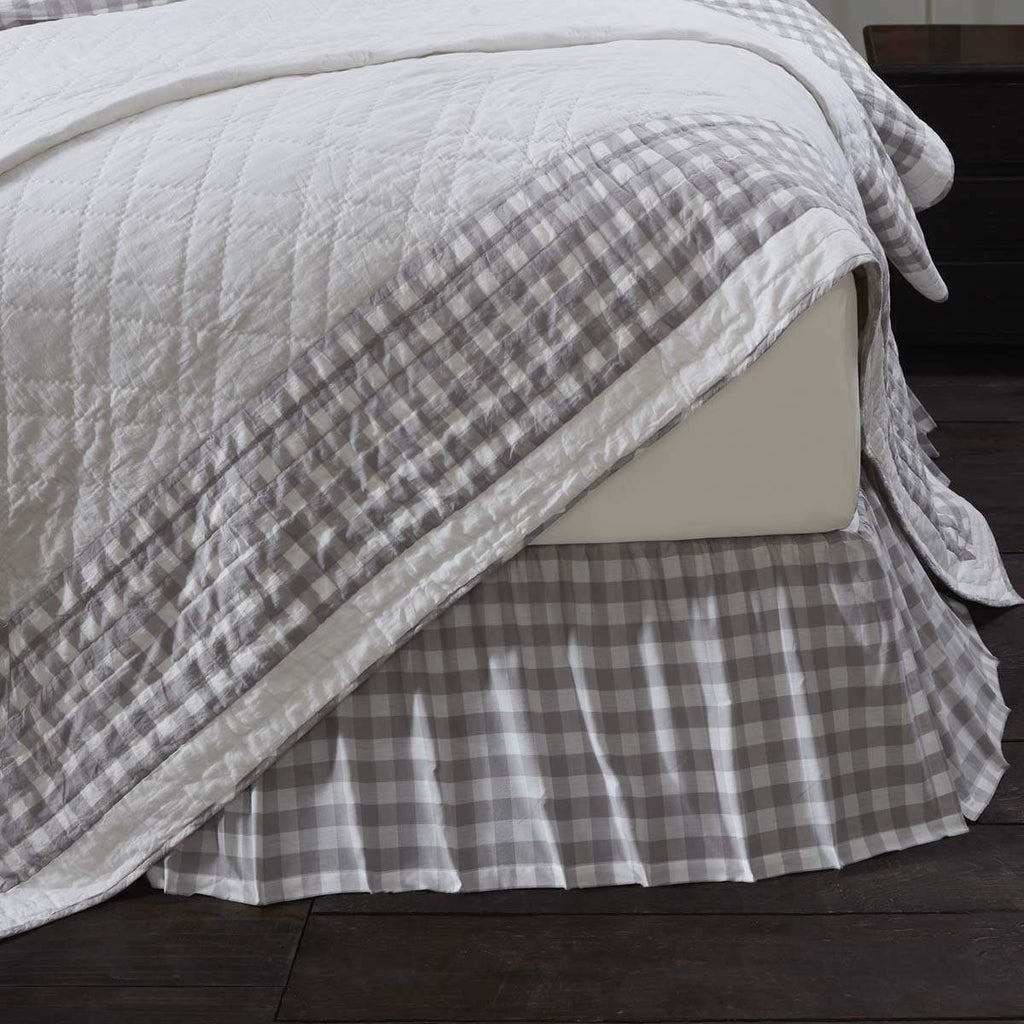 April & Olive Bed Skirt Annie Buffalo Grey Check Queen Bed Skirt 60x80x16
