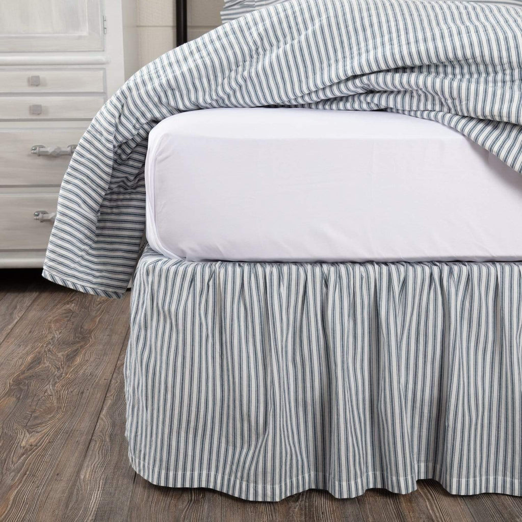 April & Olive Bed Skirt Sawyer Mill Blue Ticking Stripe King Bed Skirt 78x80x16