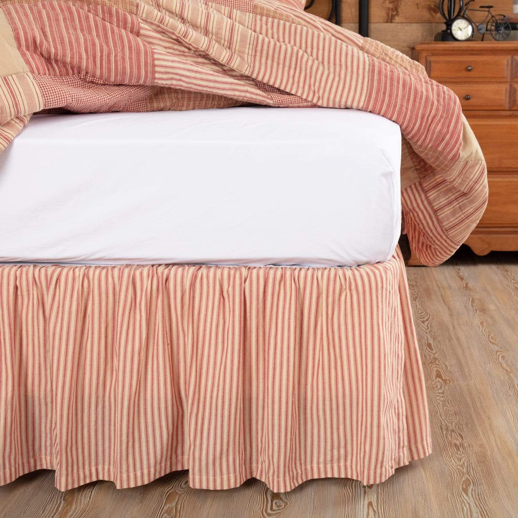 April & Olive Bed Skirt Sawyer Mill Red Ticking Stripe Queen Bed Skirt 60x80x16