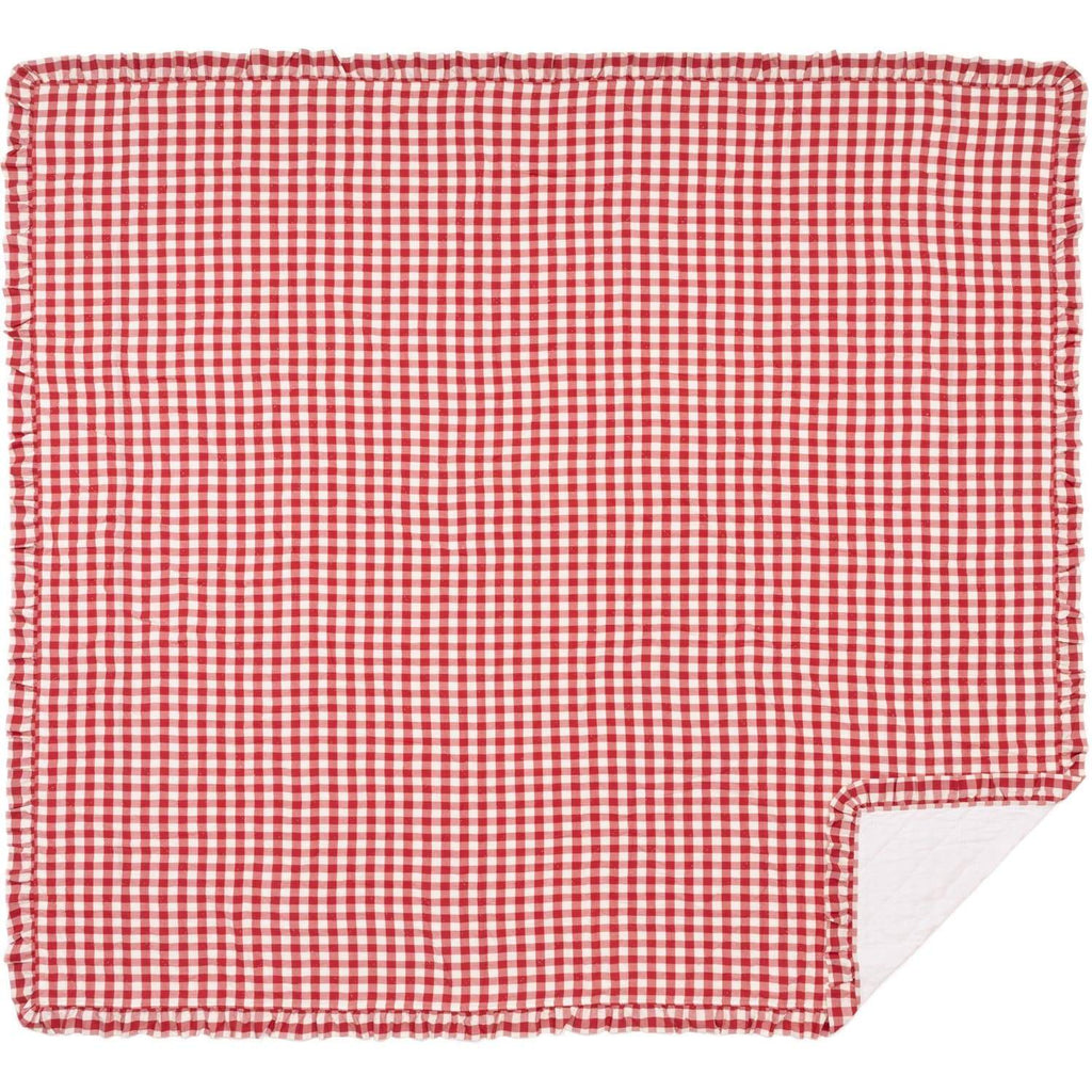 April & Olive Coverlet Annie Buffalo Red Check Ruffled King Quilt Coverlet 105Wx95L