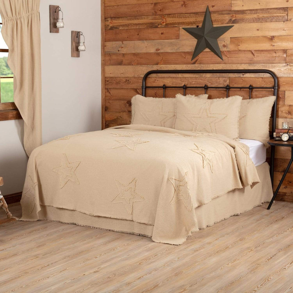 April & Olive Coverlet Burlap Vintage Star Twin Coverlet 90x68