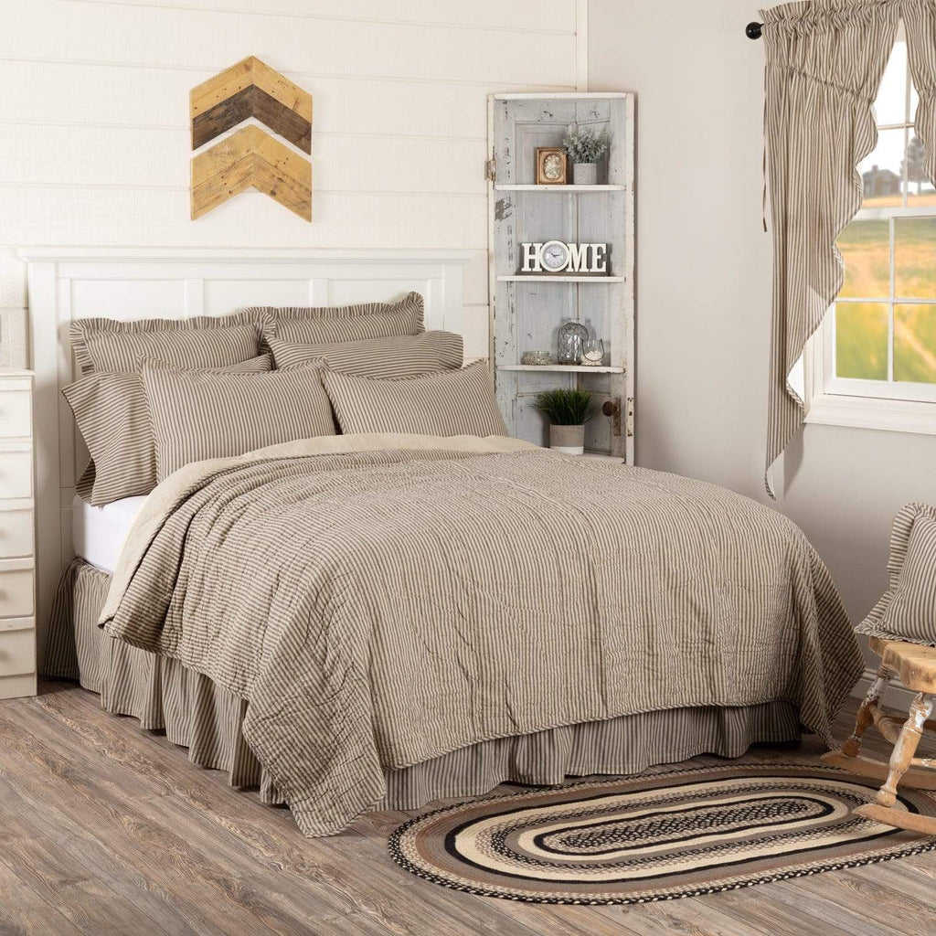 April & Olive Coverlet Sawyer Mill Charcoal Ticking Stripe Quilt California King Coverlet 130Wx115L