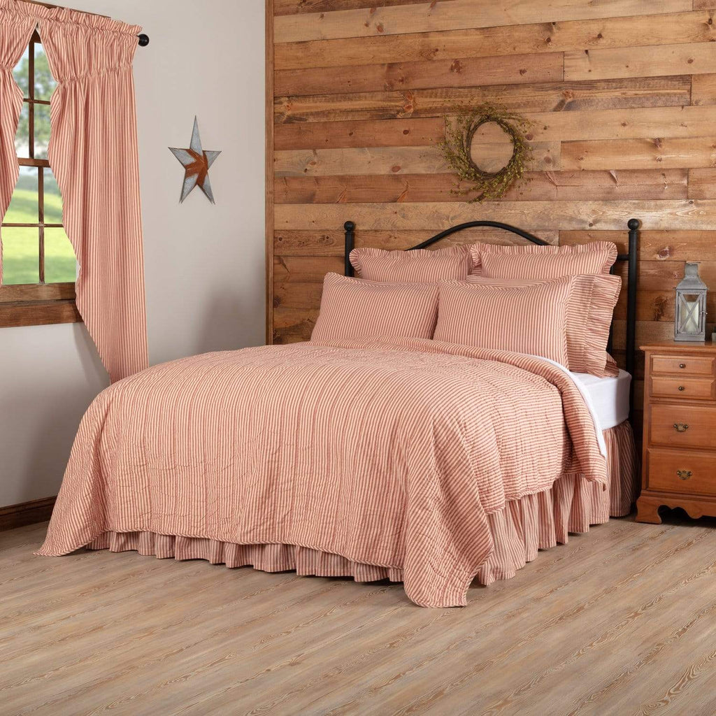 April & Olive Coverlet Sawyer Mill Red Ticking Stripe California King Quilt Coverlet 130Wx115L