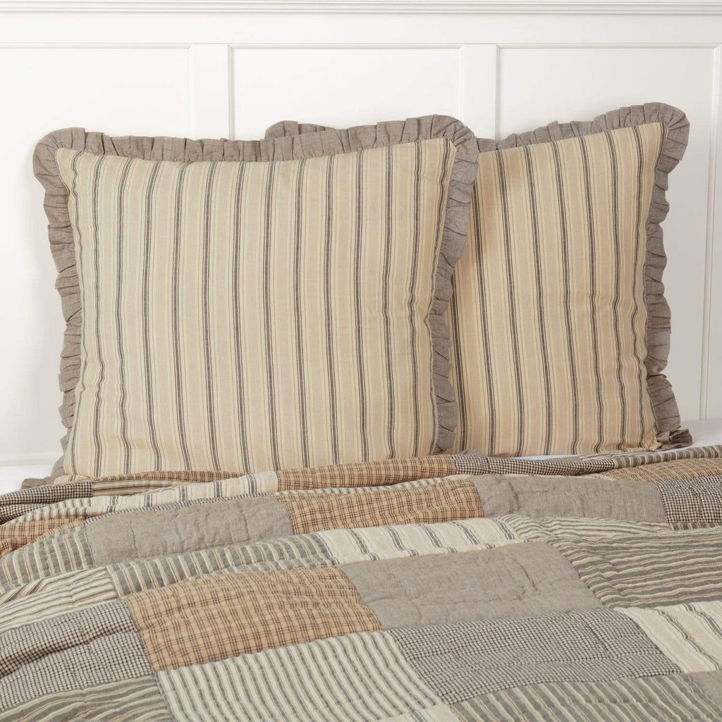 April & Olive Euro Sham Sawyer Mill Charcoal Fabric Euro Sham 26x26