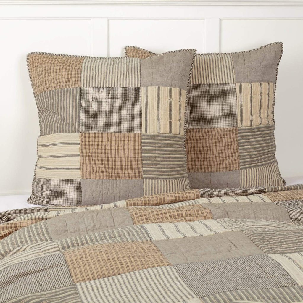 April & Olive Euro Sham Sawyer Mill Charcoal Quilted Euro Sham 26x26