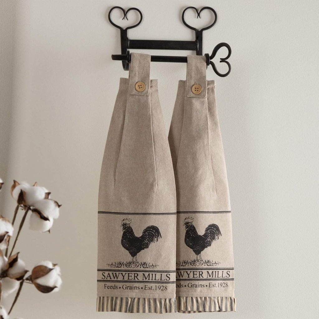 April & Olive Kitchen Towel Sawyer Mill Charcoal Poultry Button Loop Kitchen Towel Set of 2