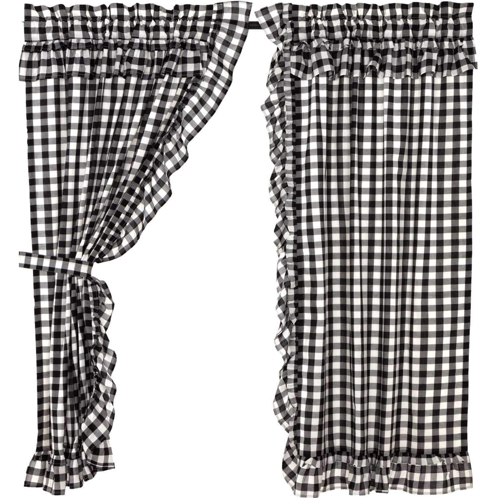 April & Olive Panel Annie Buffalo Black Check Ruffled Short Panel Set of 2 63x36