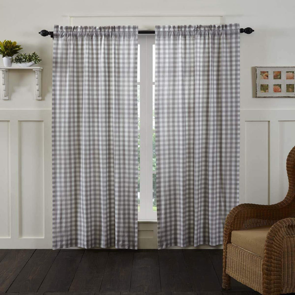 April & Olive Panel Annie Buffalo Grey Check Panel Set of 2 84x40