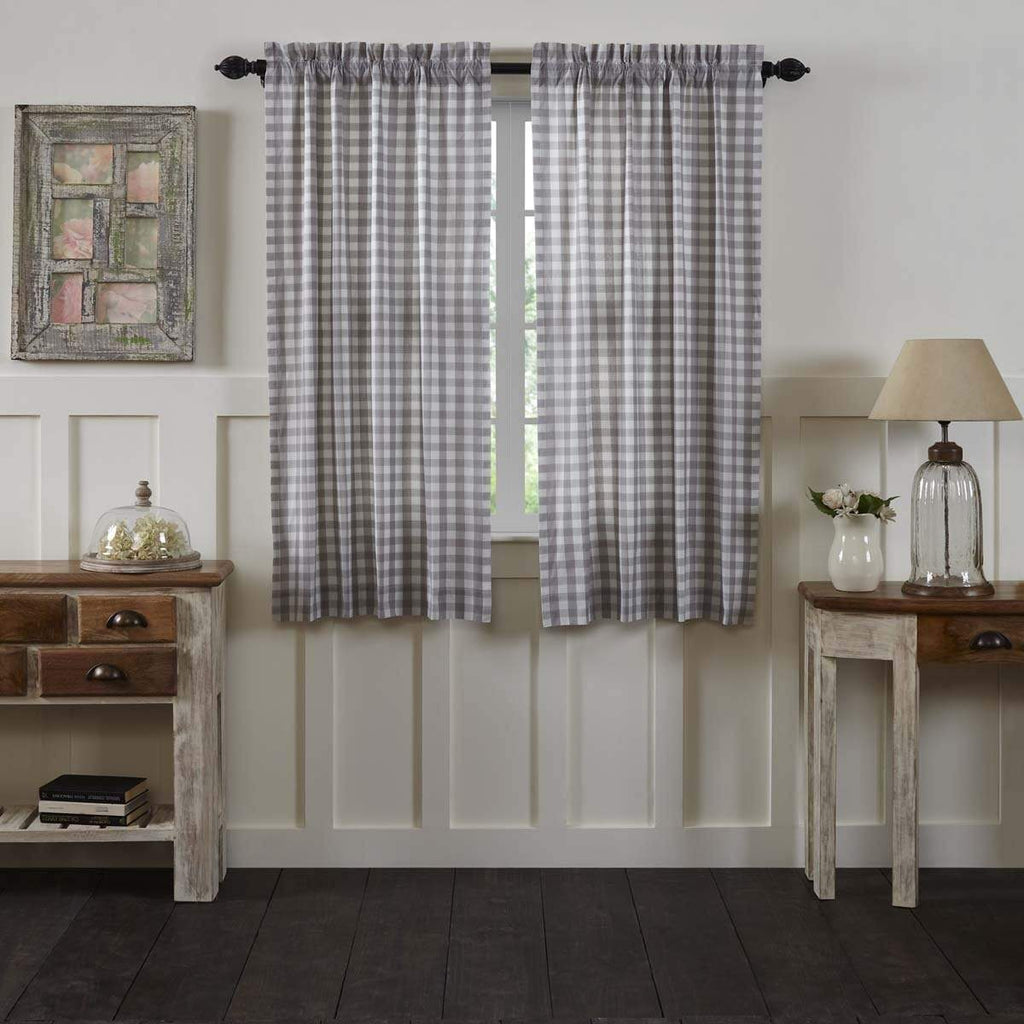 April & Olive Panel Annie Buffalo Grey Check Short Panel Set of 2 63x36