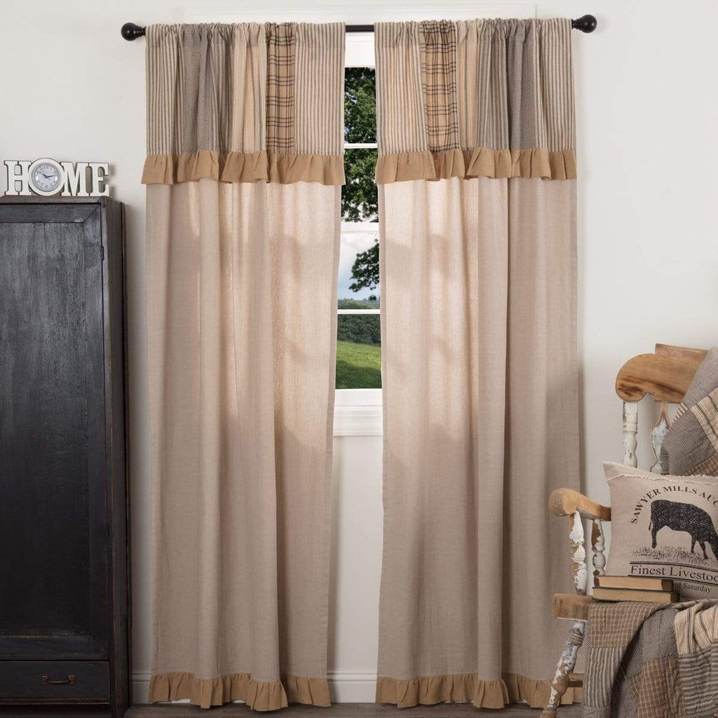 April & Olive Panel Sawyer Mill Charcoal Panel with Attached Patchwork Valance Set of 2 84x40