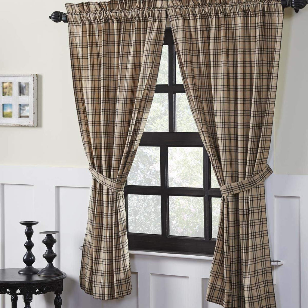 April & Olive Panel Sawyer Mill Charcoal Plaid Short Panel Set of 2 63x36
