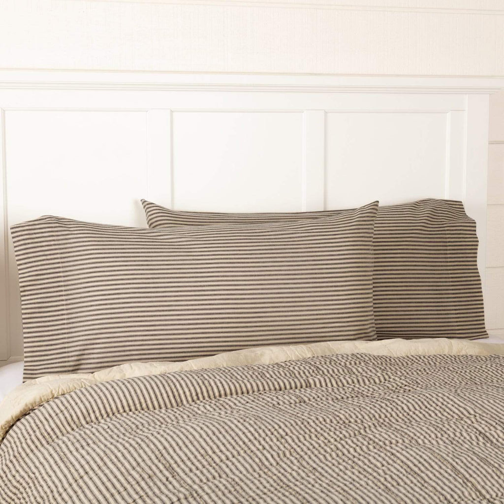 April & Olive Pillow Case Sawyer Mill Charcoal Ticking Stripe King Pillow Case Set of 2 21x40