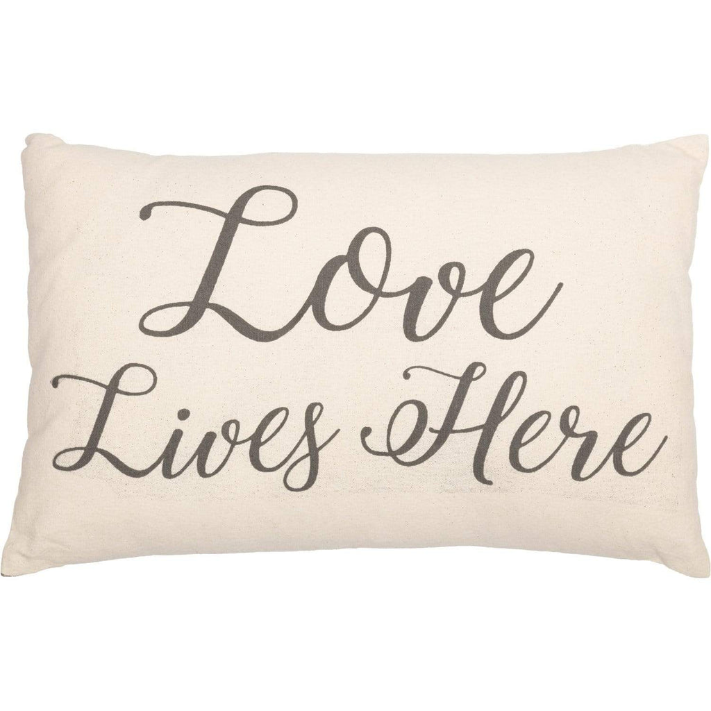 April & Olive Pillow Cover Casement Natural Love Lives Here Pillow 14x22