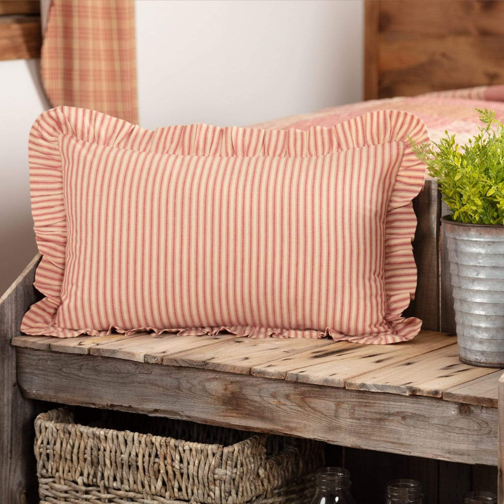 April & Olive Pillow Cover Sawyer Mill Red Ticking Stripe Fabric Pillow 14x22