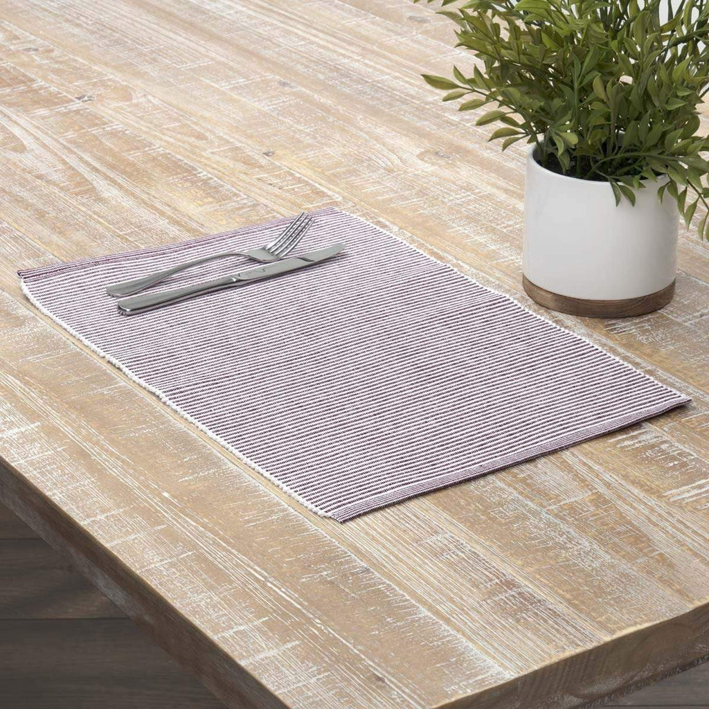 April & Olive Placemat Ashton Burgundy Ribbed Placemat Set of 6 12x18